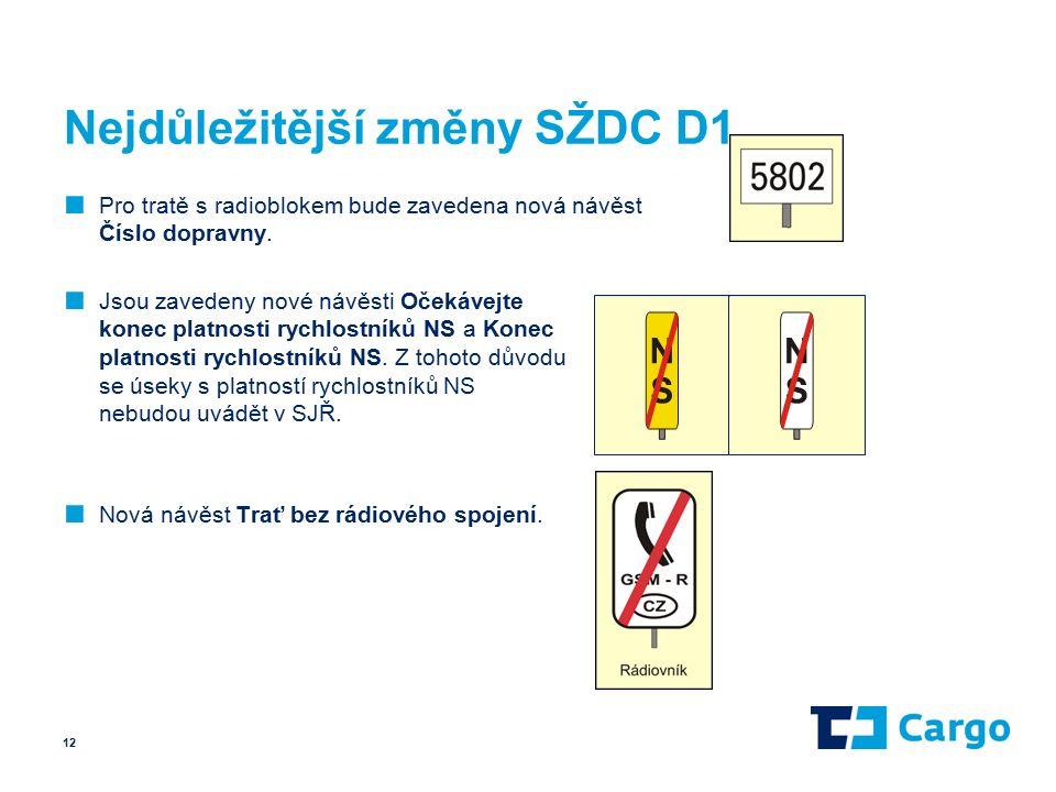 Nejdůležitější změny SŽDC D1 ■ Pro tratě s radioblokem bude zavedena nová návěst Číslo dopravny.