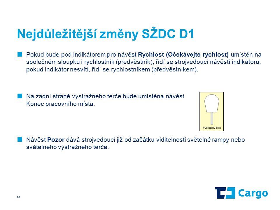 Nejdůležitější změny SŽDC D1 ■ Pokud bude pod indikátorem pro návěst Rychlost (Očekávejte rychlost) umístěn na společném sloupku i rychlostník (předvěstník), řídí se strojvedoucí návěstí indikátoru; pokud indikátor nesvítí, řídí se rychlostníkem (předvěstníkem).