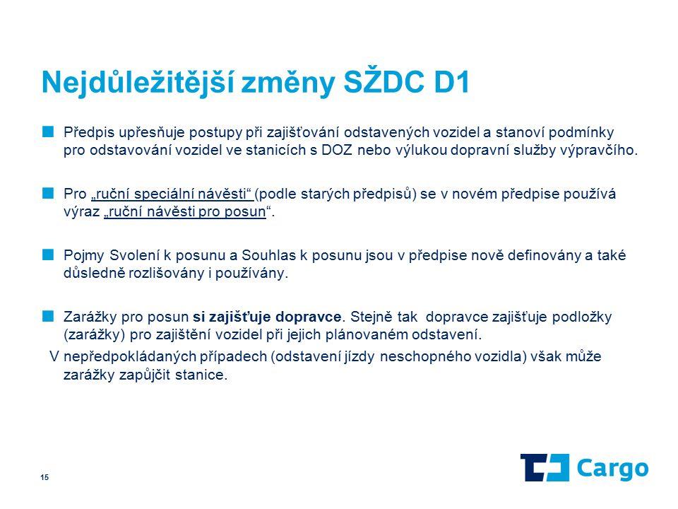 Nejdůležitější změny SŽDC D1 ■ Předpis upřesňuje postupy při zajišťování odstavených vozidel a stanoví podmínky pro odstavování vozidel ve stanicích s DOZ nebo výlukou dopravní služby výpravčího.