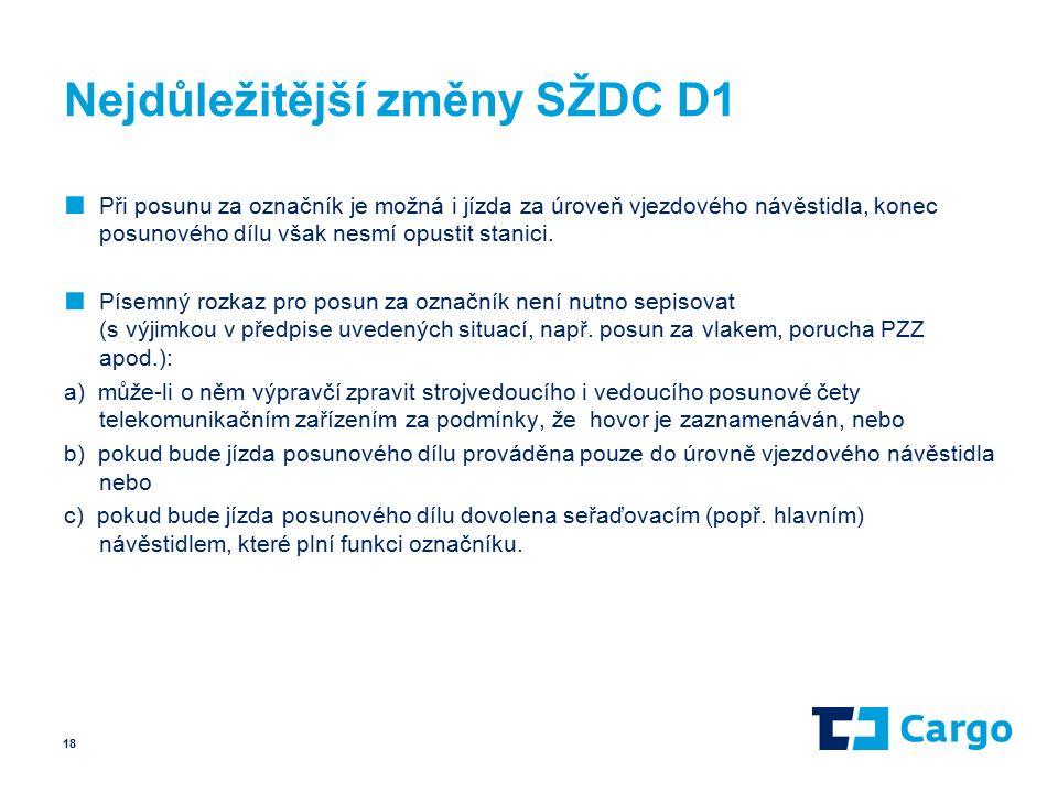 Nejdůležitější změny SŽDC D1 ■ Při posunu za označník je možná i jízda za úroveň vjezdového návěstidla, konec posunového dílu však nesmí opustit stanici.