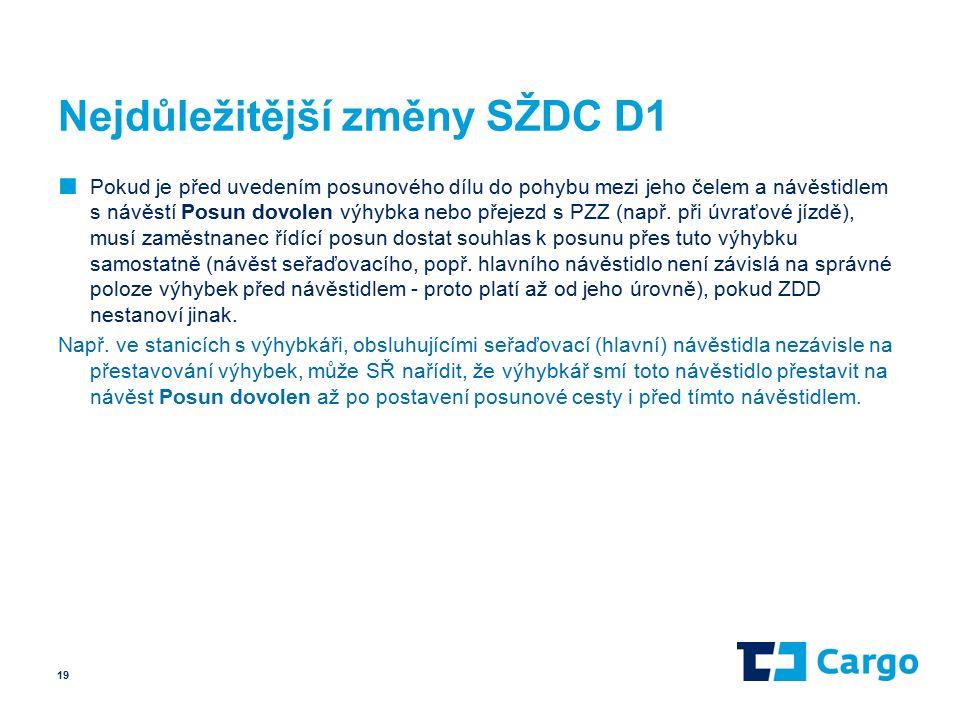 Nejdůležitější změny SŽDC D1 ■ Pokud je před uvedením posunového dílu do pohybu mezi jeho čelem a návěstidlem s návěstí Posun dovolen výhybka nebo přejezd s PZZ (např.