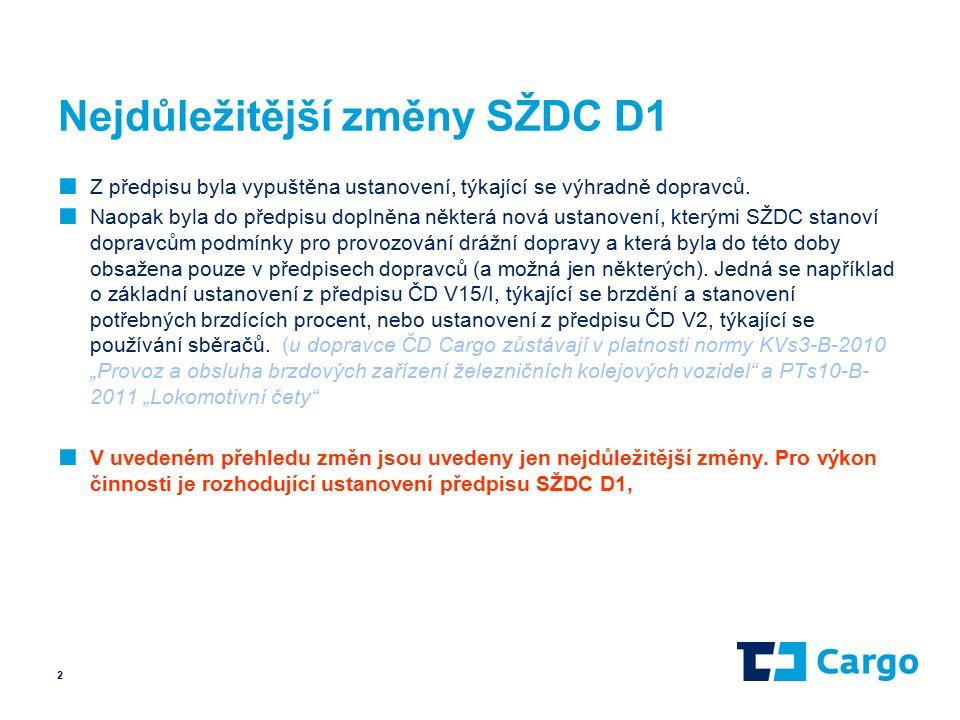 Nejdůležitější změny SŽDC D1 ■ Z předpisu byla vypuštěna ustanovení, týkající se výhradně dopravců.