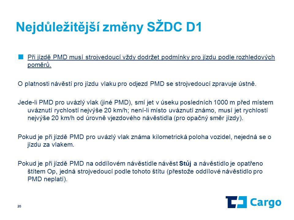 Nejdůležitější změny SŽDC D1 ■ Při jízdě PMD musí strojvedoucí vždy dodržet podmínky pro jízdu podle rozhledových poměrů.
