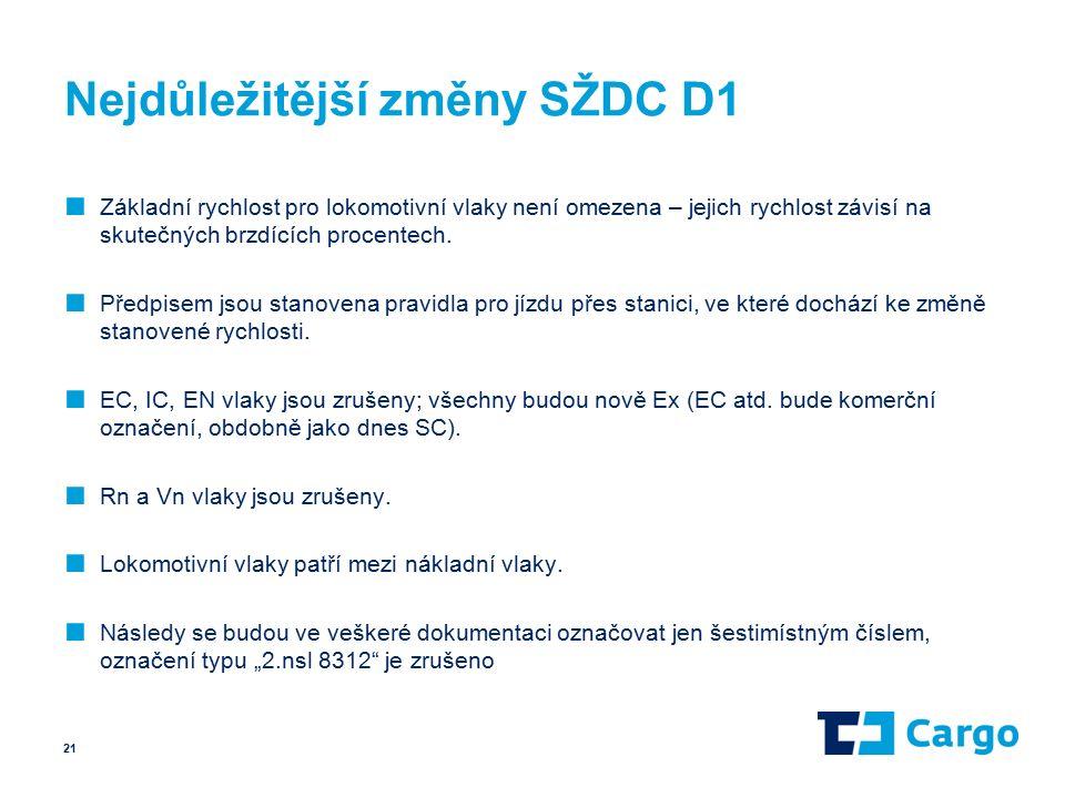 Nejdůležitější změny SŽDC D1 ■ Základní rychlost pro lokomotivní vlaky není omezena – jejich rychlost závisí na skutečných brzdících procentech.