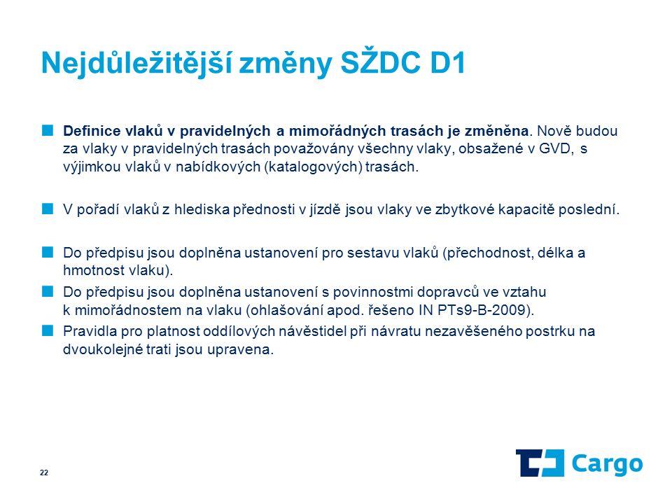 Nejdůležitější změny SŽDC D1 ■ Definice vlaků v pravidelných a mimořádných trasách je změněna.
