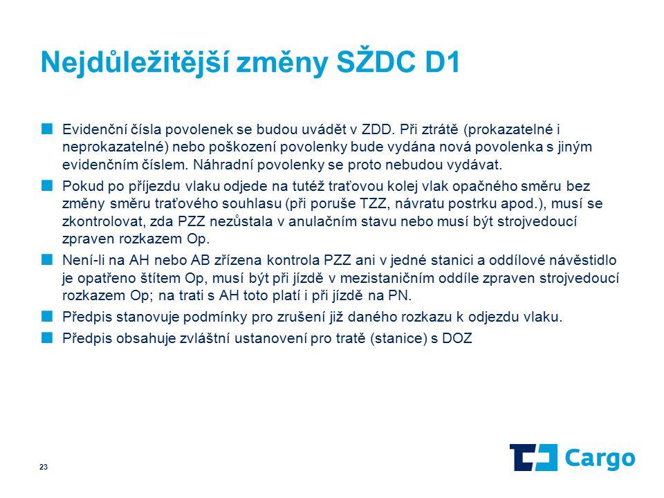 Nejdůležitější změny SŽDC D1 ■ Evidenční čísla povolenek se budou uvádět v ZDD.