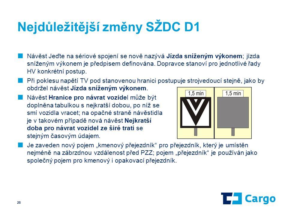 Nejdůležitější změny SŽDC D1 ■ Návěst Jeďte na sériové spojení se nově nazývá Jízda sníženým výkonem; jízda sníženým výkonem je předpisem definována.