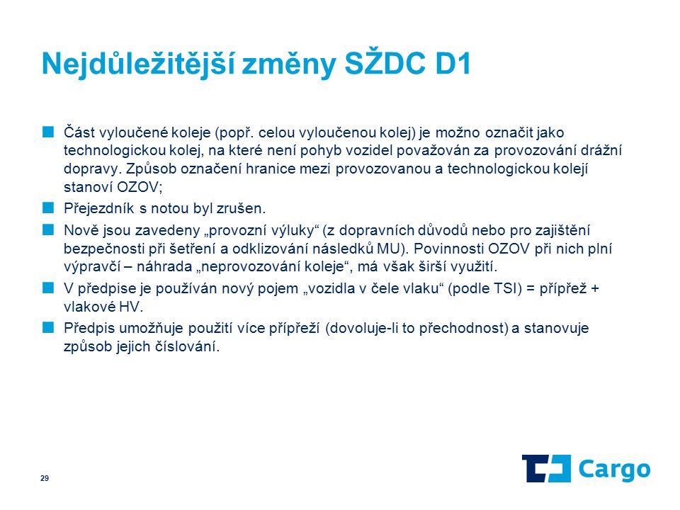 Nejdůležitější změny SŽDC D1 ■ Část vyloučené koleje (popř.