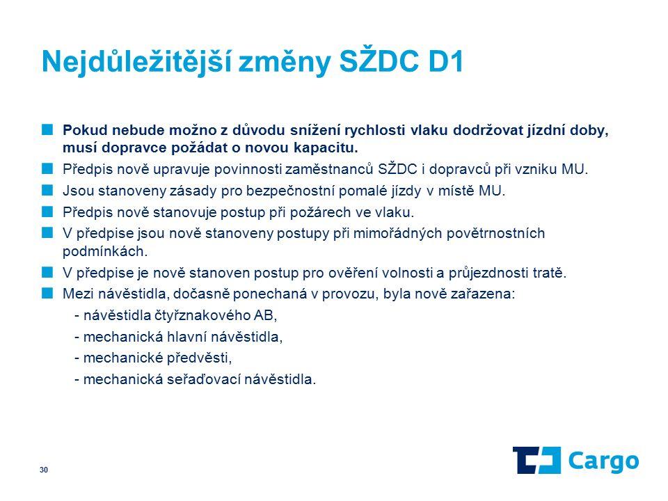 Nejdůležitější změny SŽDC D1 ■ Pokud nebude možno z důvodu snížení rychlosti vlaku dodržovat jízdní doby, musí dopravce požádat o novou kapacitu.