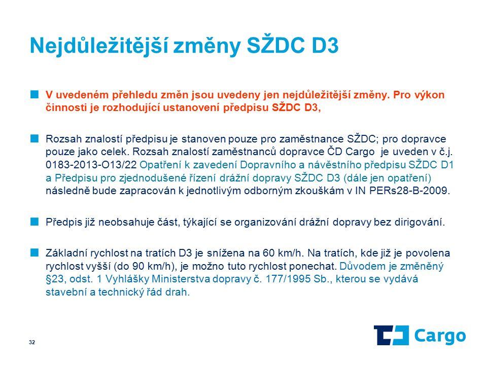 Nejdůležitější změny SŽDC D3 ■ V uvedeném přehledu změn jsou uvedeny jen nejdůležitější změny.
