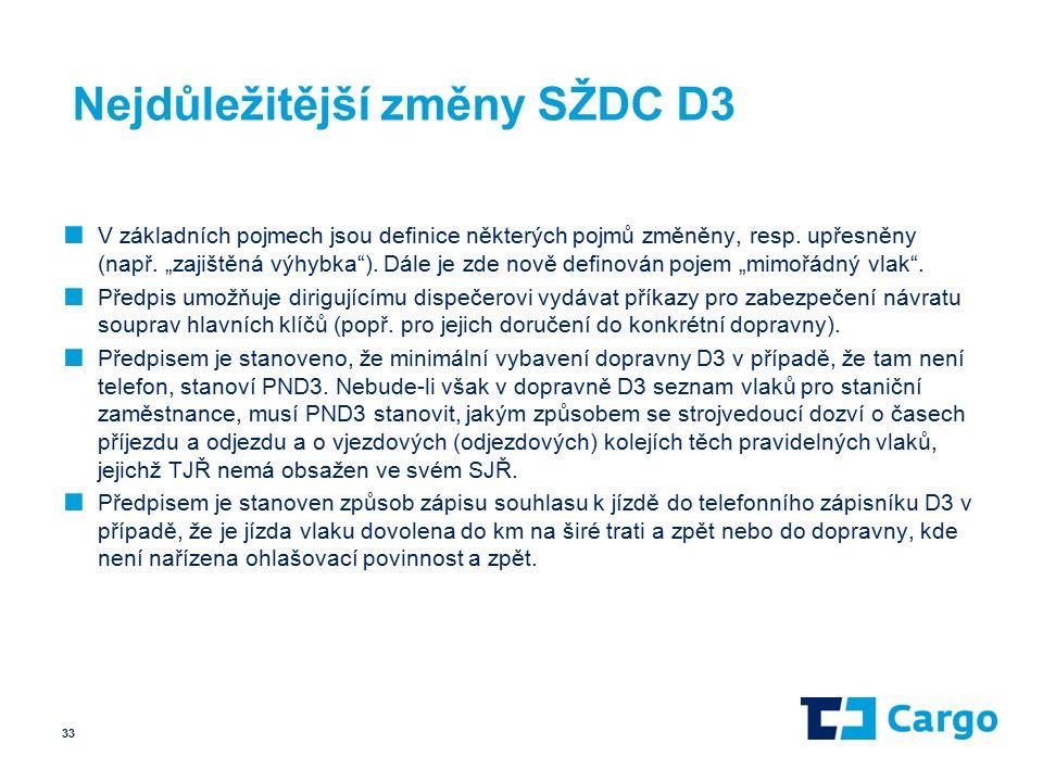 Nejdůležitější změny SŽDC D3 ■ V základních pojmech jsou definice některých pojmů změněny, resp.