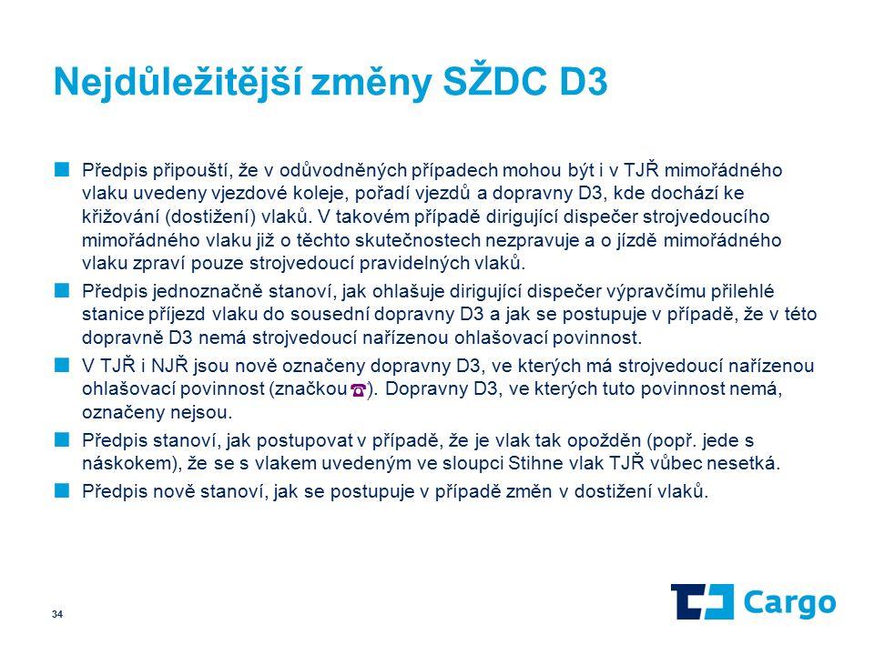 Nejdůležitější změny SŽDC D3 ■ Předpis připouští, že v odůvodněných případech mohou být i v TJŘ mimořádného vlaku uvedeny vjezdové koleje, pořadí vjezdů a dopravny D3, kde dochází ke křižování (dostižení) vlaků.