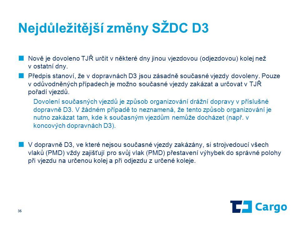 Nejdůležitější změny SŽDC D3 ■ Nově je dovoleno TJŘ určit v některé dny jinou vjezdovou (odjezdovou) kolej než v ostatní dny.