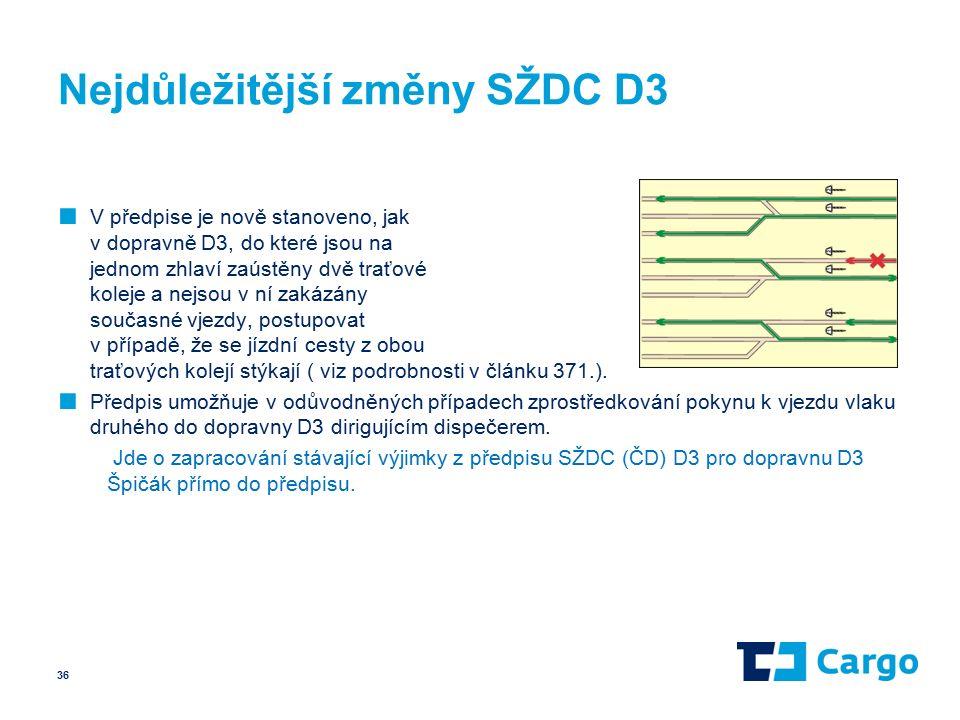 Nejdůležitější změny SŽDC D3 ■ V předpise je nově stanoveno, jak v dopravně D3, do které jsou na jednom zhlaví zaústěny dvě traťové koleje a nejsou v ní zakázány současné vjezdy, postupovat v případě, že se jízdní cesty z obou traťových kolejí stýkají ( viz podrobnosti v článku 371.).