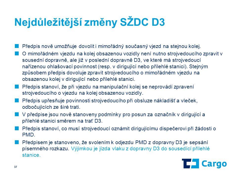 Nejdůležitější změny SŽDC D3 ■ Předpis nově umožňuje dovolit i mimořádný současný vjezd na stejnou kolej.