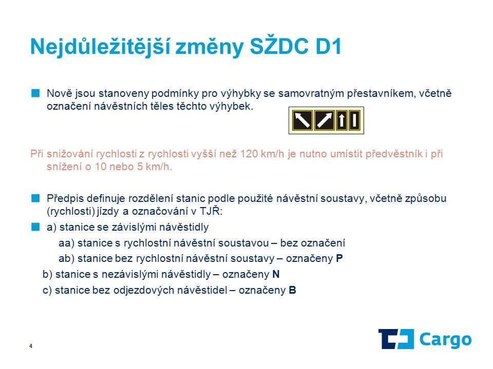 Nejdůležitější změny SŽDC D1 ■ Nově jsou stanoveny podmínky pro výhybky se samovratným přestavníkem, včetně označení návěstních těles těchto výhybek.