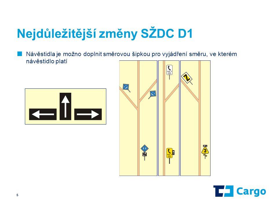 Nejdůležitější změny SŽDC D1 ■ Návěstidla je možno doplnit směrovou šipkou pro vyjádření směru, ve kterém návěstidlo platí 5