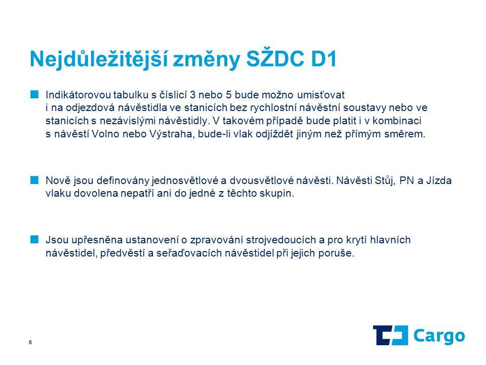 Nejdůležitější změny SŽDC D1 ■ Indikátorovou tabulku s číslicí 3 nebo 5 bude možno umisťovat i na odjezdová návěstidla ve stanicích bez rychlostní návěstní soustavy nebo ve stanicích s nezávislými návěstidly.