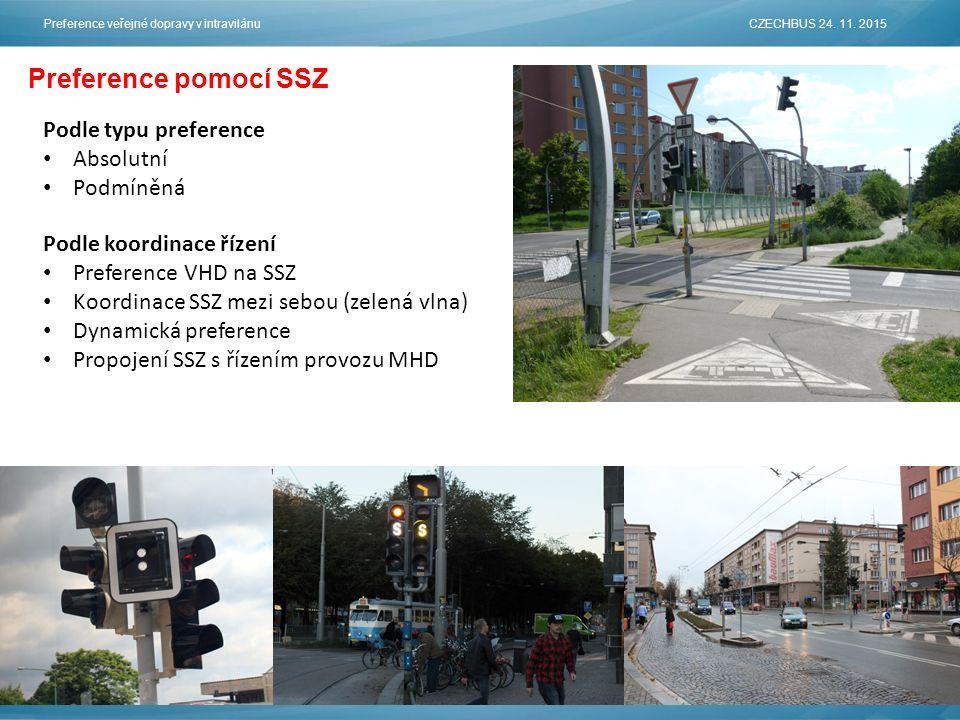 Preference pomocí SSZ Podle koordinace řízení Preference VHD na SSZ Koordinace SSZ mezi sebou (zelená vlna) Dynamická preference Propojení SSZ s řízením provozu MHD Podle typu preference Absolutní Podmíněná Preference veřejné dopravy v intravilánu CZECHBUS 24.