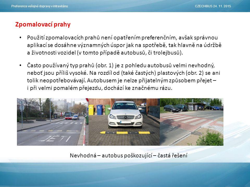 Zpomalovací prahy Použití zpomalovacích prahů není opatřením preferenčním, avšak správnou aplikací se dosáhne významných úspor jak na spotřebě, tak hlavně na údržbě a životnosti vozidel (v tomto případě autobusů, či trolejbusů).