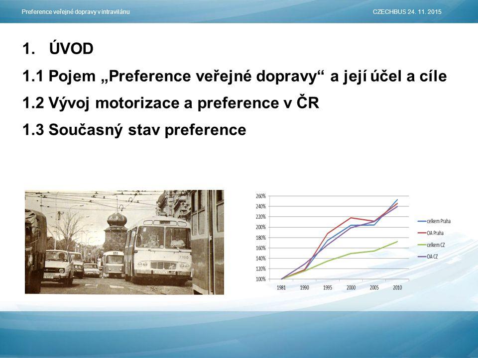 """1.ÚVOD 1.1 Pojem """"Preference veřejné dopravy a její účel a cíle 1.2 Vývoj motorizace a preference v ČR 1.3 Současný stav preference Preference veřejné dopravy v intravilánu CZECHBUS 24."""