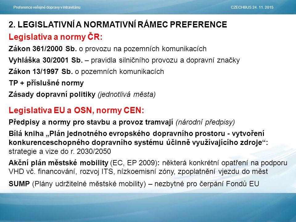 2. LEGISLATIVNÍ A NORMATIVNÍ RÁMEC PREFERENCE Legislativa a normy ČR: Zákon 361/2000 Sb.