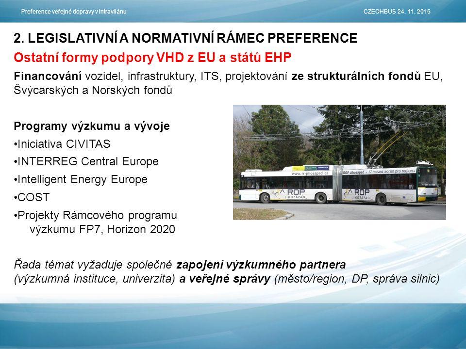 2. LEGISLATIVNÍ A NORMATIVNÍ RÁMEC PREFERENCE Ostatní formy podpory VHD z EU a států EHP Financování vozidel, infrastruktury, ITS, projektování ze str