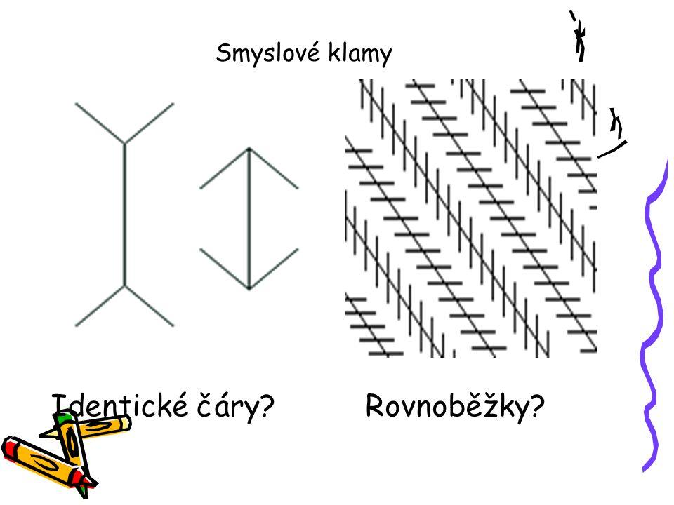 Smyslové klamy Identické čáry Rovnoběžky