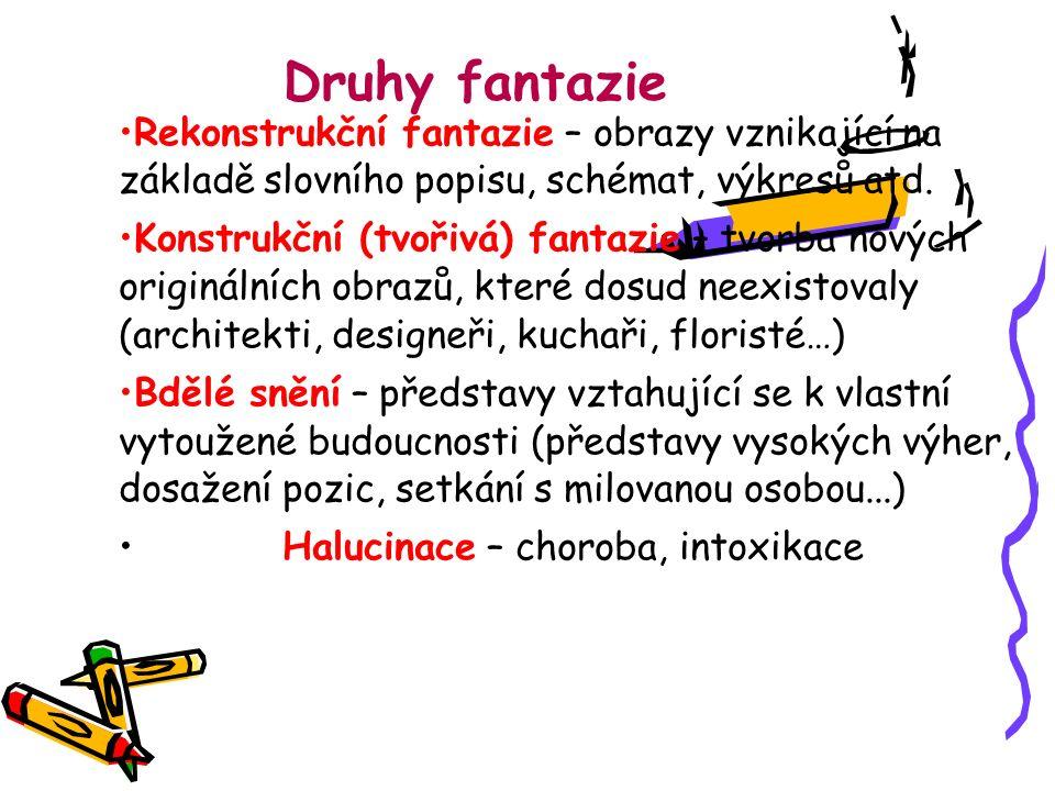 Druhy fantazie Rekonstrukční fantazie – obrazy vznikající na základě slovního popisu, schémat, výkresů atd. Konstrukční (tvořivá) fantazie – tvorba no