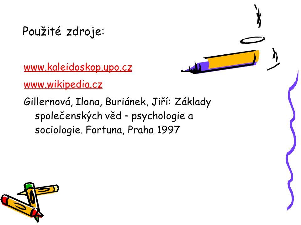 Použité zdroje: www.kaleidoskop.upo.cz www.wikipedia.cz Gillernová, Ilona, Buriánek, Jiří: Základy společenských věd – psychologie a sociologie. Fortu