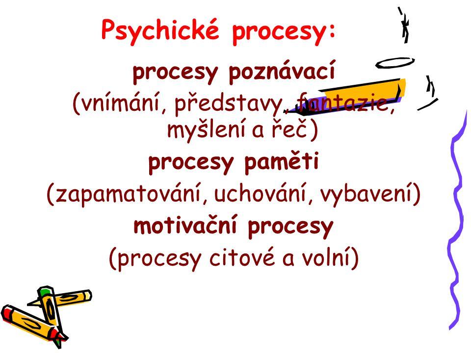 Psychické procesy: procesy poznávací (vnímání, představy, fantazie, myšlení a řeč) procesy paměti (zapamatování, uchování, vybavení) motivační procesy (procesy citové a volní)