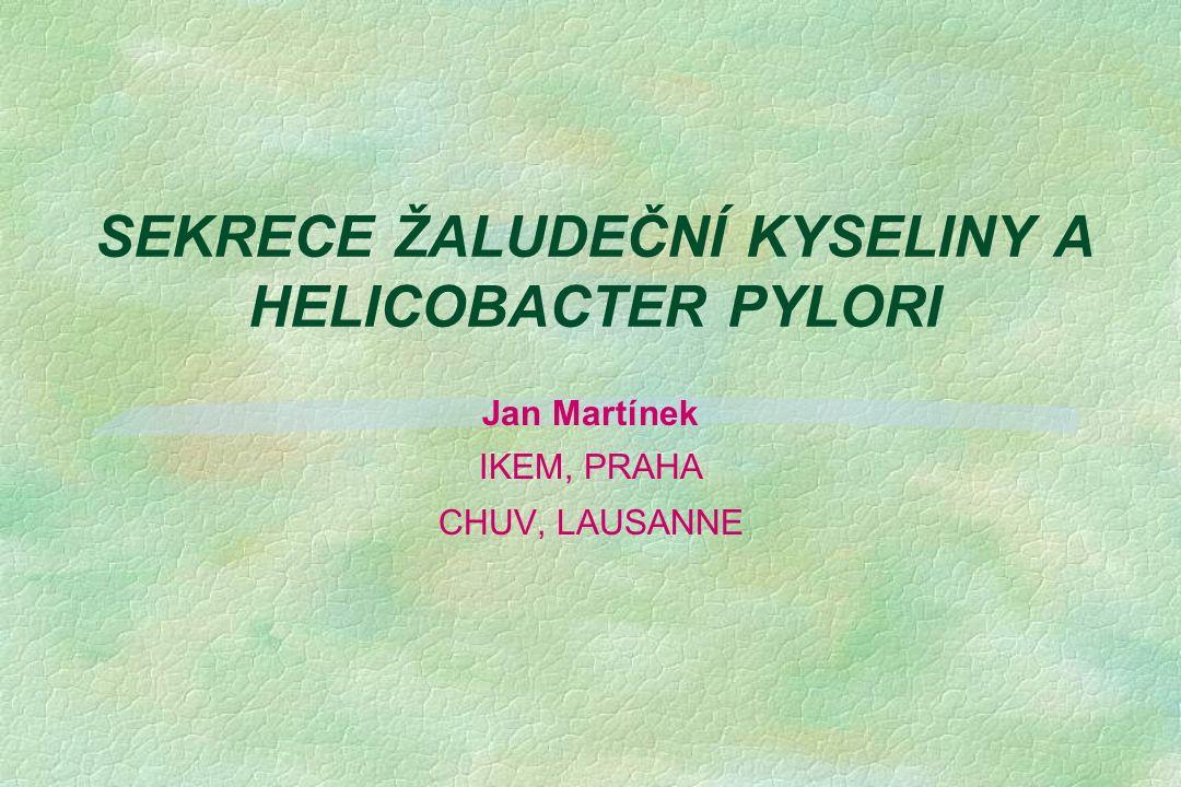 SEKRECE ŽALUDEČNÍ KYSELINY A HELICOBACTER PYLORI Jan Martínek IKEM, PRAHA CHUV, LAUSANNE