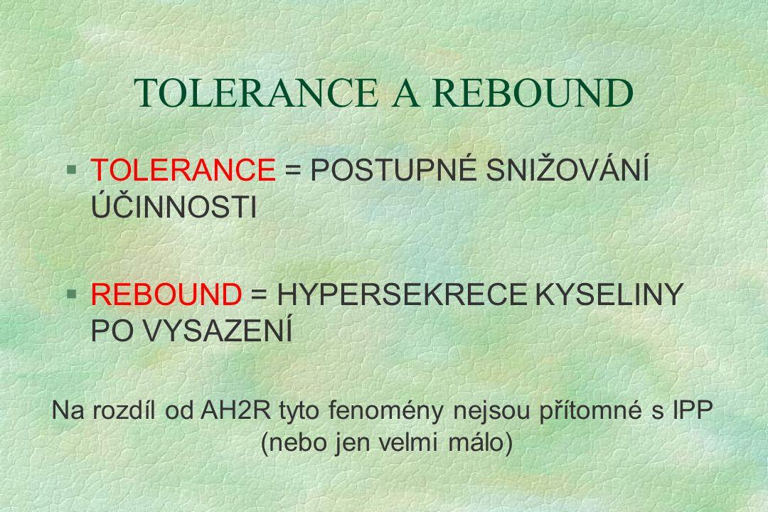 TOLERANCE A REBOUND §TOLERANCE = POSTUPNÉ SNIŽOVÁNÍ ÚČINNOSTI §REBOUND = HYPERSEKRECE KYSELINY PO VYSAZENÍ Na rozdíl od AH2R tyto fenomény nejsou přítomné s IPP (nebo jen velmi málo)