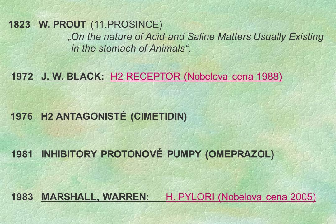 """1823 W. PROUT (11.PROSINCE) """"On the nature of Acid and Saline Matters Usually Existing in the stomach of Animals"""". 1972 J. W. BLACK: H2 RECEPTOR (Nobe"""