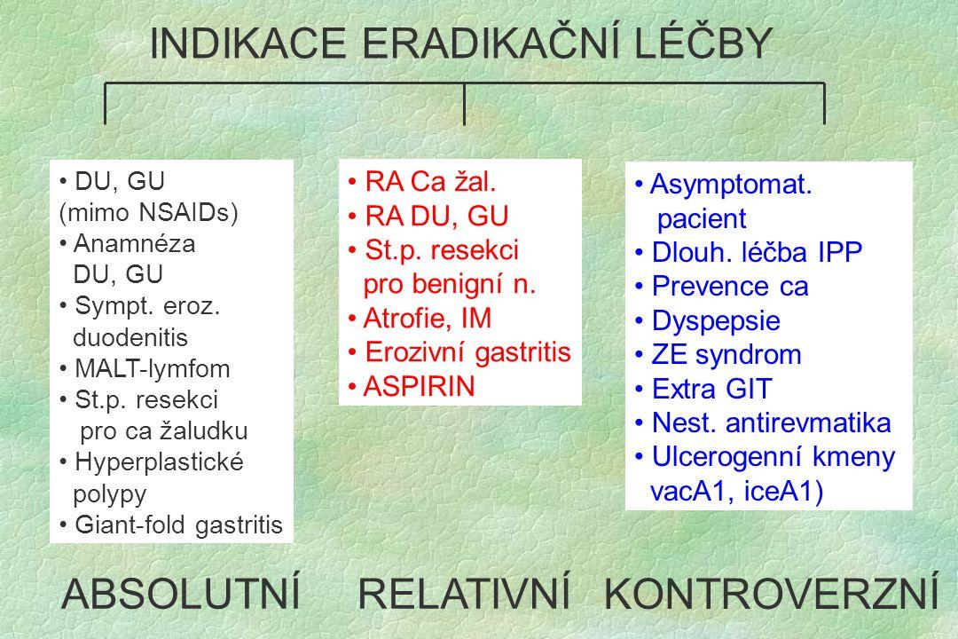 DU, GU (mimo NSAIDs) Anamnéza DU, GU Sympt. eroz. duodenitis MALT-lymfom St.p. resekci pro ca žaludku Hyperplastické polypy Giant-fold gastritis RA Ca