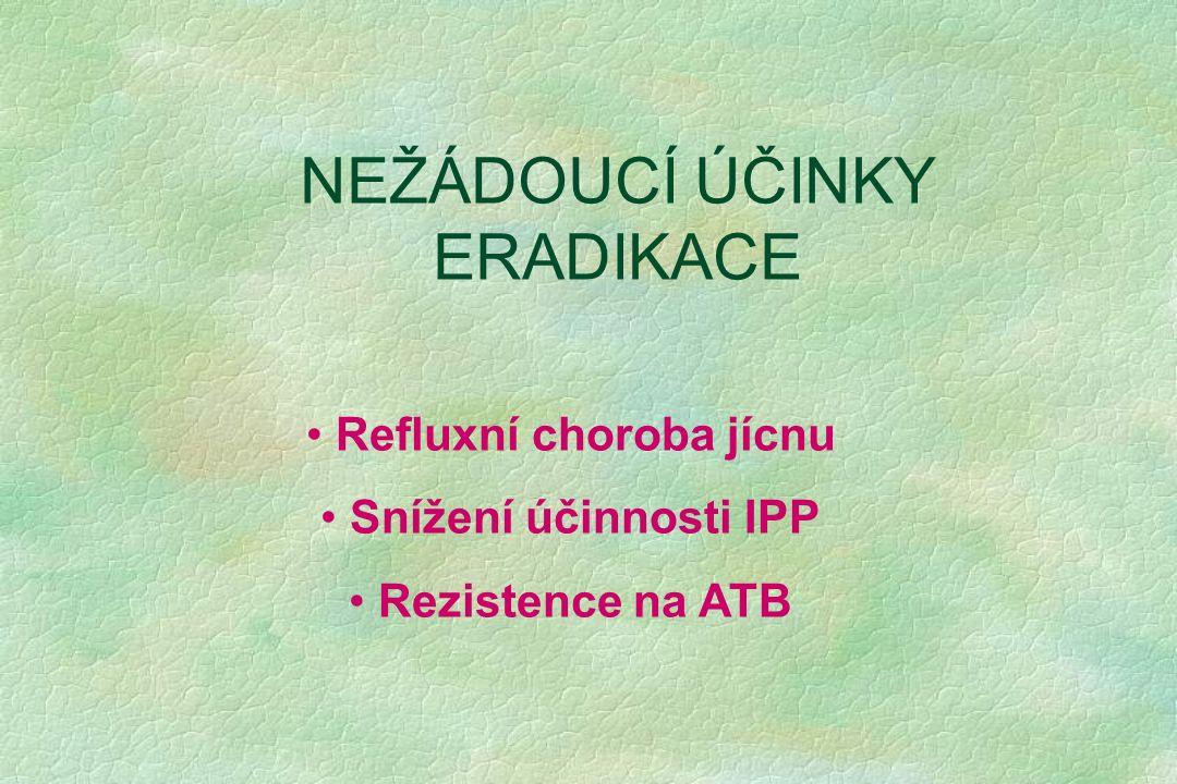 NEŽÁDOUCÍ ÚČINKY ERADIKACE Refluxní choroba jícnu Snížení účinnosti IPP Rezistence na ATB