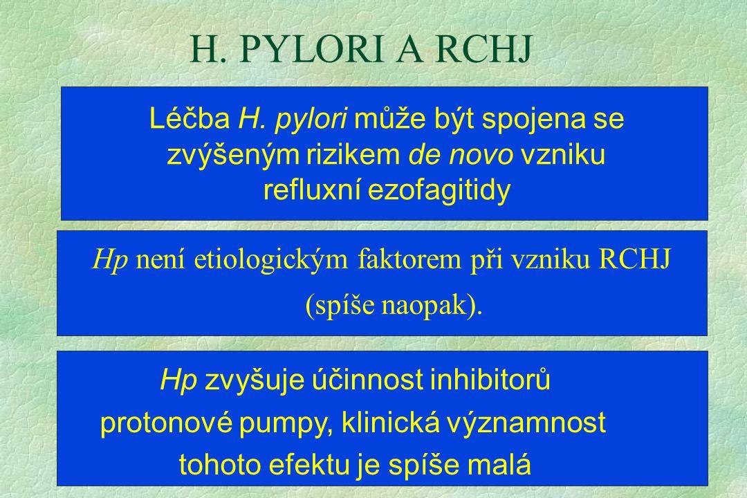 H. PYLORI A RCHJ Hp není etiologickým faktorem při vzniku RCHJ (spíše naopak). Léčba H. pylori může být spojena se zvýšeným rizikem de novo vzniku ref