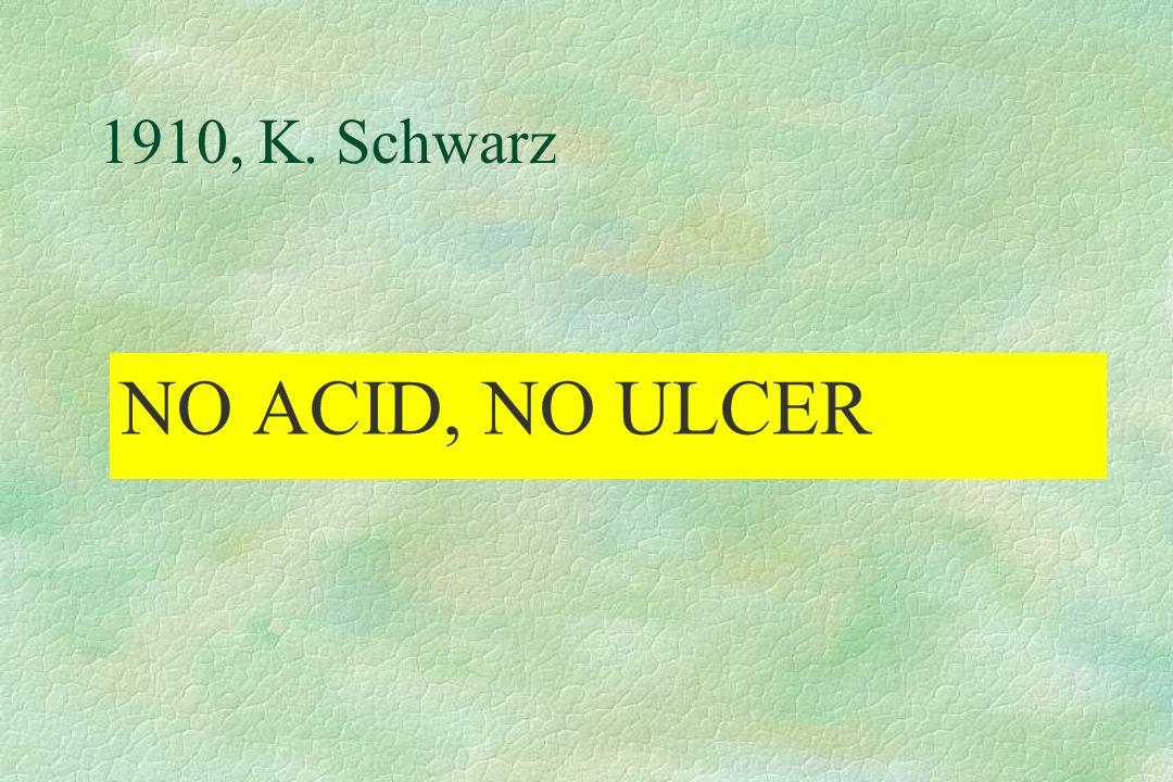1910, K. Schwarz NO ACID, NO ULCER