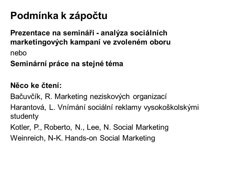 Podmínka k zápočtu Prezentace na semináři - analýza sociálních marketingových kampaní ve zvoleném oboru nebo Seminární práce na stejné téma Něco ke čtení: Bačuvčík, R.