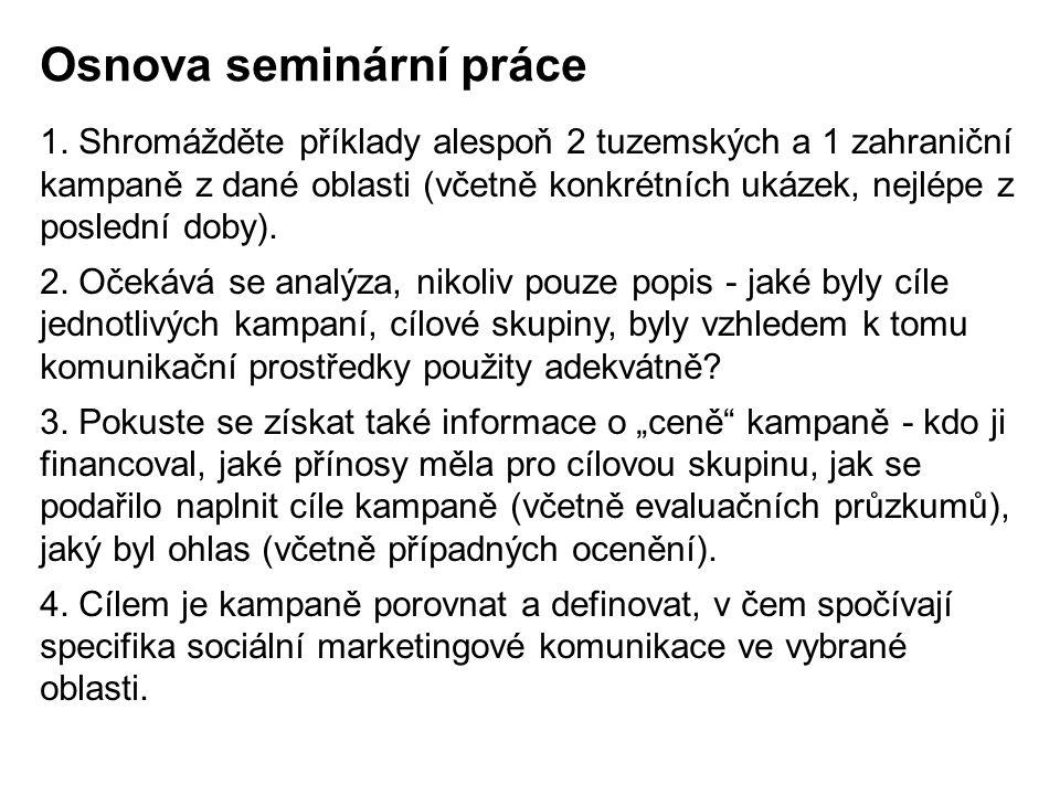 Další podmínky: -prezentaci je potřeba odprezentovat na hodině a poslat mailem na bacuvcik@fmk.utb.czbacuvcik@fmk.utb.cz -prezentace na cca 10 minut, moderovaná diskuze -k českým kampaním je potřeba zpracovat Protokol (viz) a poslat na mail -kdo nestihne prezentovat, odevzdá seminární práci na stejné téma v rozsahu cca 5 stran (+ Protokoly)