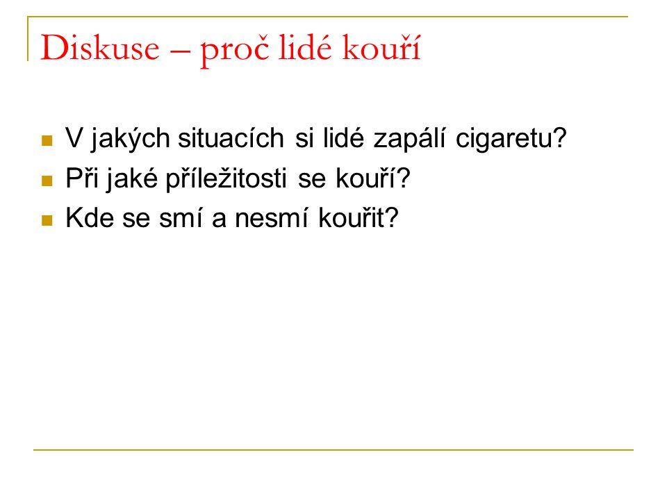 Diskuse – proč lidé kouří V jakých situacích si lidé zapálí cigaretu? Při jaké příležitosti se kouří? Kde se smí a nesmí kouřit?