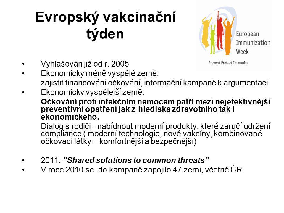 Evropský vakcinační týden Vyhlašován již od r. 2005 Ekonomicky m é ně vyspěl é země: zajistit financov á n í očkov á n í, informačn í kampaně k argume
