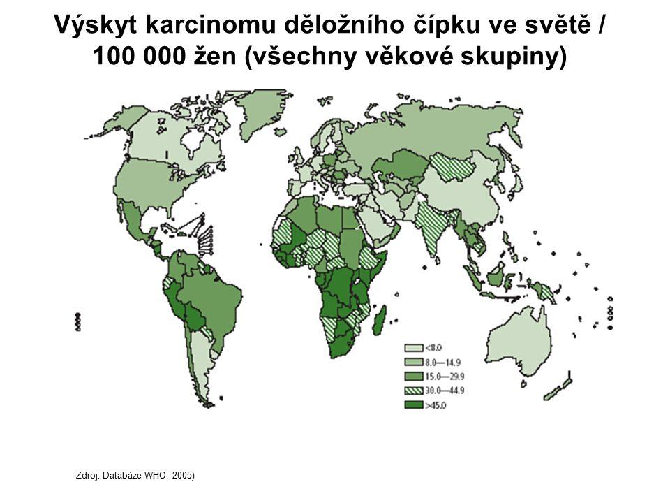 Výskyt karcinomu děložního čípku ve světě / 100 000 žen (všechny věkové skupiny) Zdroj: Databáze WHO, 2005)