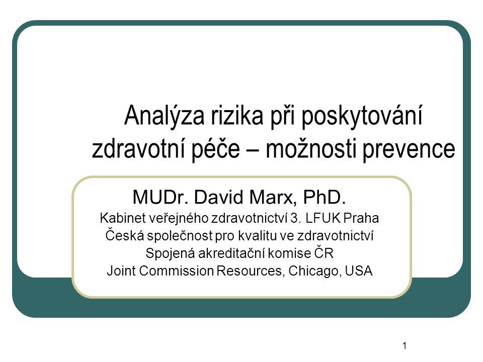 1 Analýza rizika při poskytování zdravotní péče – možnosti prevence MUDr.
