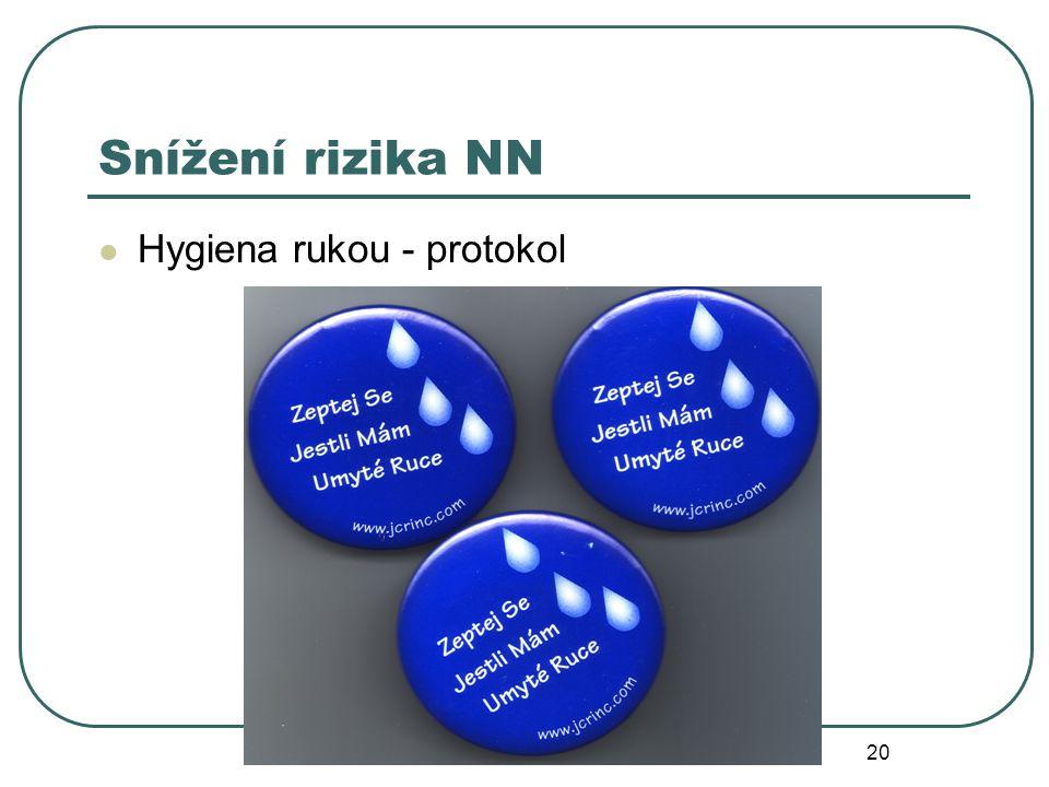 20 Snížení rizika NN Hygiena rukou - protokol