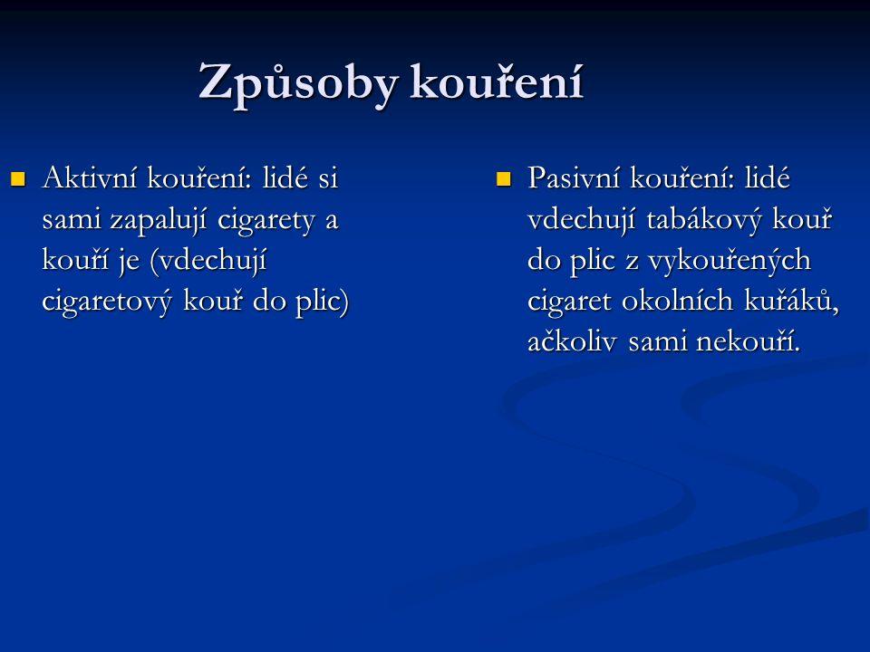 Způsoby kouření Aktivní kouření: lidé si sami zapalují cigarety a kouří je (vdechují cigaretový kouř do plic) Aktivní kouření: lidé si sami zapalují cigarety a kouří je (vdechují cigaretový kouř do plic) Pasivní kouření: lidé vdechují tabákový kouř do plic z vykouřených cigaret okolních kuřáků, ačkoliv sami nekouří.