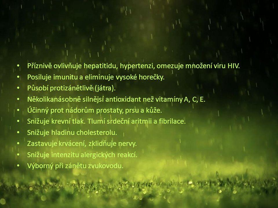 Příznivě ovlivňuje hepatitidu, hypertenzi, omezuje množení viru HIV.