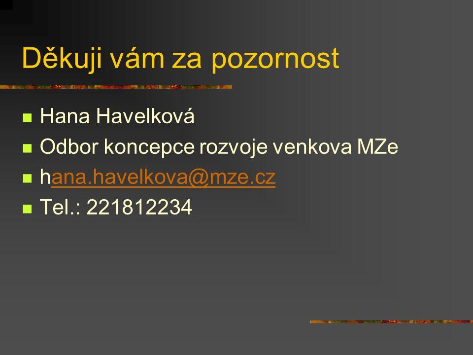 Děkuji vám za pozornost Hana Havelková Odbor koncepce rozvoje venkova MZe hana.havelkova@mze.czana.havelkova@mze.cz Tel.: 221812234