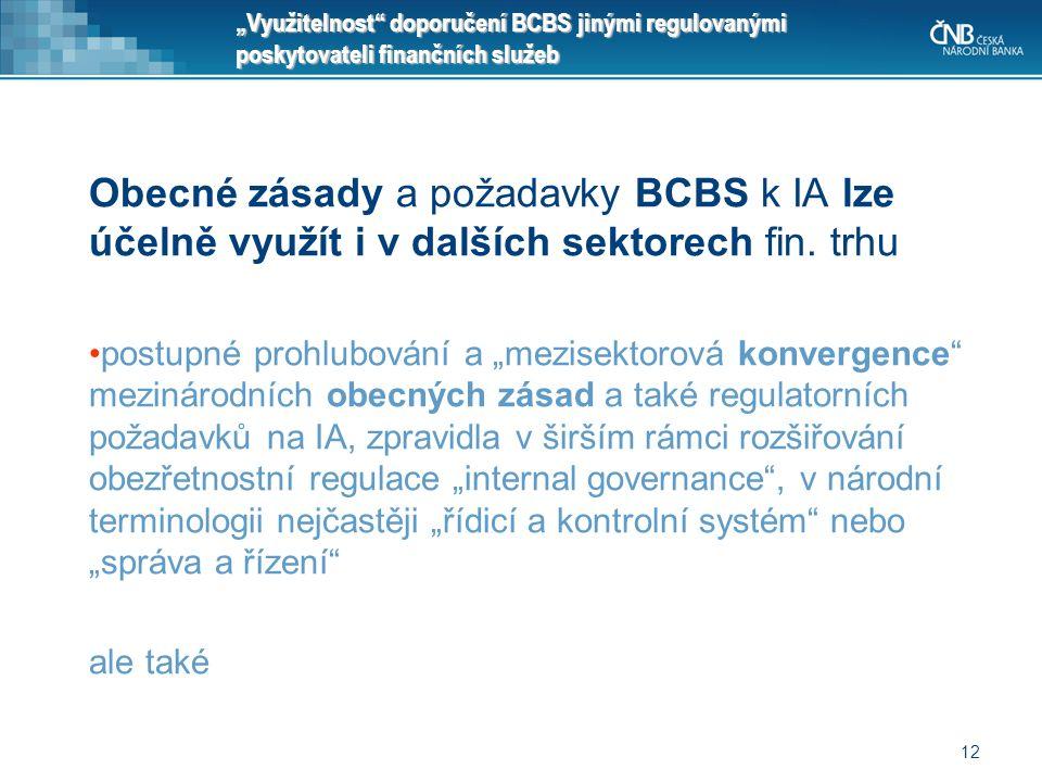 """12 """"Využitelnost"""" doporučení BCBS jinými regulovanými poskytovateli finančních služeb Obecné zásady a požadavky BCBS k IA lze účelně využít i v dalšíc"""
