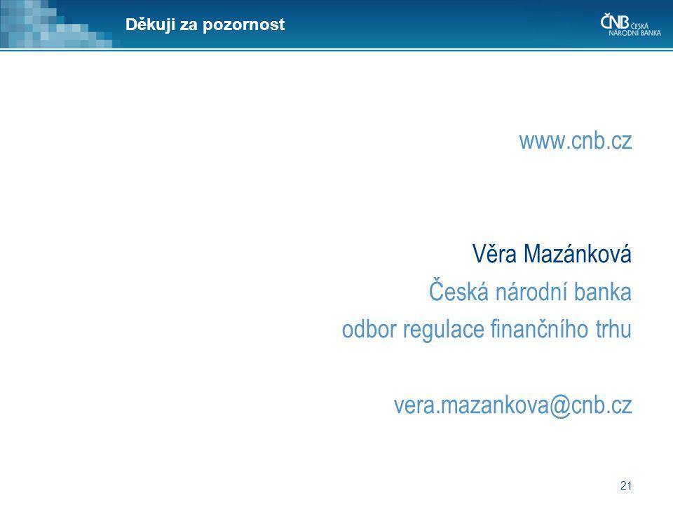21 Děkuji za pozornost www.cnb.cz Věra Mazánková Česká národní banka odbor regulace finančního trhu vera.mazankova@cnb.cz